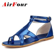 Airfour Cross-Strap Big Size 34-43 Women Sandals Sweet Flats Sandals Bling Summer Shoes Casual T-Strap Buckle Flats Shoes Woman