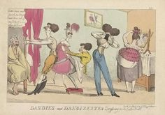 Caricature History: Dandies and Dandizettes dressing for the Easter Ball, 1819