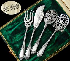 Soufflot: Boxed French Sterling Silver 4pc Hors d'Oeuvre Set