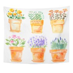 Set Flowers In Pot Watercolor Vector - 211782826 : Shutterstock Watercolor Plants, Easy Watercolor, Watercolor Drawing, Floral Watercolor, Watercolor Paintings, Watercolor Stickers, Hanging Tapestry, Hanging Wall Art, Wall Hangings
