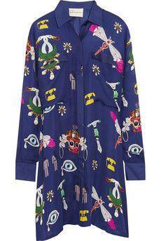 Mary Katrantzou Oriane printed silk-georgette shirt dress | NET-A-PORTER