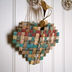Woven Paper Heart Basket 7x6, Recycled Paper in Shades of Teal, Red, and Neutral, Loose Weave Pattern, Handmade