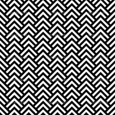 Black and white chevron geometric seamless pattern, vector — Stock ...
