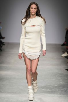 This model is wearing a glorified onesie; no wonder she's angry (FALL 2013 READY-TO-WEAR  Isabel Marant).