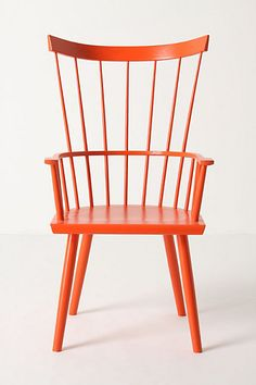 The Dalloway chair is a modern take on the Windsor chair. #dining room #orange #