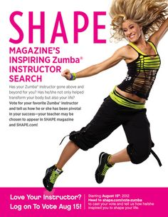 Leslie is the best Zumba teacher - google her and watch her videos - then Vote for Your Favorite Zumba Instructor on August 15!  Vote for Leslie Fhima!