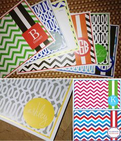 Love these personalized, bright paper-placemats! Easy cleanup without sacrificing style!
