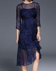 #AdoreWe #VIPme (VIPSHOP Global) Womens - missshine Royal Blue Asymmetrical 3/4 Sleeve Midi Dress - AdoreWe.com