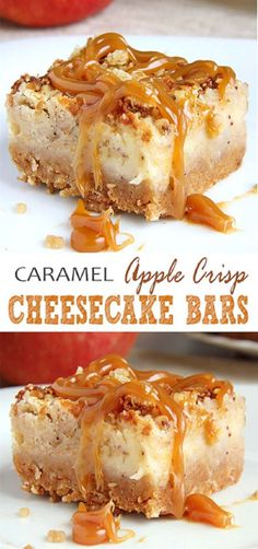 These Caramel Apple Crisp Cheesecake Bars are ideal choice in the autumn season,. - These Caramel Apple Crisp Cheesecake Bars are ideal choice in the autumn season, but also during ho - Apple Desserts, Apple Recipes, Easy Desserts, Dessert Recipes, Baking Desserts, Bakery Recipes, Health Desserts, Easy Delicious Recipes, Delicious Desserts