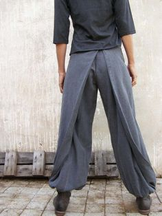 Unique grey Womens pants-Origami trousers/ 4 way pants-womens