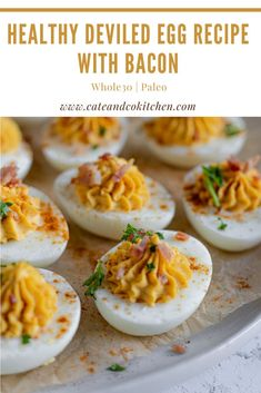 These Whole30 Deviled Eggs with Bacon are a classic and delicious healthy appetizer! They are quick and easy to make and are perfect for get-togethers! Packed with protein and filled with so much delicious flavor from the dijon mustard to the onions and bacon! Easy Whole 30 Recipes, Gluten Free Recipes For Dinner, Whole30 Recipes, Bacon Recipes, Dairy Free Recipes, Egg Recipes, Brunch Recipes, Healthy Appetizers, Easy Healthy Dinners