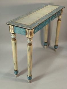 Hand Painted Hall Table - Vanity - Desk - Turned Legs: Teal, Custom Made-To-Order Whimsical Painted Furniture, Painted Chairs, Hand Painted Furniture, Funky Furniture, Refurbished Furniture, Art Furniture, Repurposed Furniture, Furniture Projects, Furniture Makeover