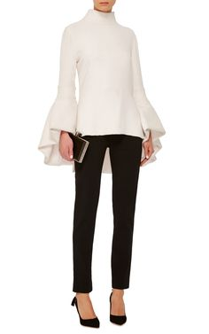 PD 10-24-2016.  Brandon Maxwell blouse features a mock neck and exaggerated bubble hem bell sleeves. Extend shirttail. Mock neck. Back zip closure. 100% silk. Unlined. | Moda Operandi.