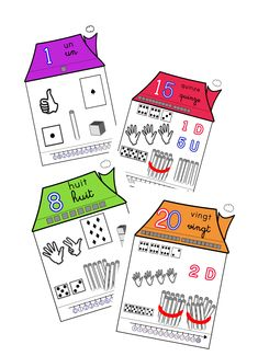 number houses from 1 to 20 Numbers Kindergarten, Kindergarten Lessons, Math Lessons, Math 2, 2nd Grade Math, First Grade, Number Writing Practice, Writing Numbers, Number Sense Activities