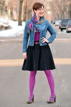 Already Pretty outfit featuring denim jacket, magenta tank top, multicolored scarf, navy full skirt, magenta tights, gray Tsubo Acrea