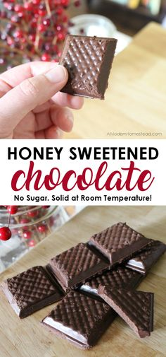 Chocolate made with honey is not only possible, it's downright easy! Honey sweetened chocolate still has the same sheen and snap of chocolate made with sugar, but you get the benefits of honey instead! With just 4 simple ingredients you can have delicious honey chocolate in no time at all!