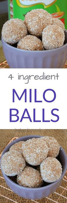 These super easy MILO MALTED MILK BALLS are sure to be a hit with the littlest people in your home! Just 4 ingredients and 10 minutes prep time. Made from plain biscuits, condensed milk, coconut and Milo. Weight Watcher Desserts, Baking Recipes, Dessert Recipes, Low Carb Dessert, Malted Milk, Christmas Cooking, Kos, Kids Meals, Sweet Recipes