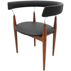 Jan Lunde Knutsen Rondo Teak and Black Leather Side Chair, Denmark, 1960