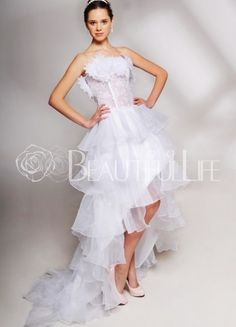 $220.49 Organza See Though #Mini #Wedding #Dress With Flower Neckline And Asymmetrical Tiered Bottom Italian Wedding Dresses, Mini Wedding Dresses, Wedding Gowns, Bridesmaid Dresses, Prom Dresses, Yes To The Dress, Dress Up, Satin, Bustier