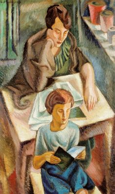 Artist's Wife with a Boy at a Table (1921). Zbigniew Pronaszko (Polish, 1885-1958).