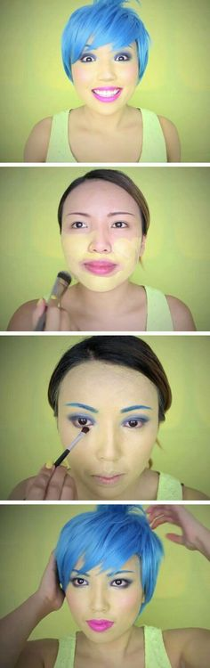 Inside Out Joy MakeupTutorial Click Pic for 18 Easy DIY Halloween Costumes for Women Last Minute Halloween Costumes for Girls Diy Halloween Costumes For Women, Last Minute Halloween Costumes, Cute Costumes, Halloween 2015, Disney Costumes, Halloween Cosplay, Holidays Halloween, Girl Costumes, Halloween Make Up