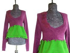 Asymmetric Floral Sweater S/M Small Medium by RebeccasArtCloset, $58.00