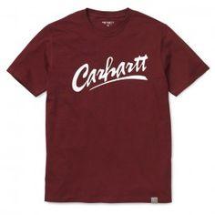 CARHARTT S/S BRUSH T-SHIRT - Cranberry / White