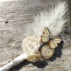 Vintage Ivory Mother of Pearl Antique Glass Button Feather Boutonnière - Something Old Feather Boutonniere, Groom Boutonniere, Boutonnieres, Bride Bouquets, Bridesmaid Bouquet, Button Bouquet, Two Brides, Tarnished Silver, Wedding Abroad