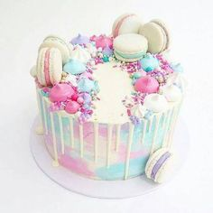 cake decorating 393431717446150367 - gateau pastel macarons Source by Pretty Cakes, Cute Cakes, Beautiful Cakes, Amazing Cakes, Bolo Tumblr, Macaroon Cake, Pastel Cakes, Drip Cakes, Creative Cakes