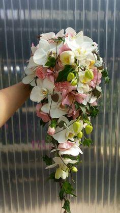Wedding bouquet. phalaenopsis alstromeria, carnations...