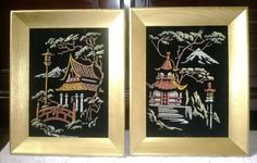 Vintage Pair of Chinoiserie Oriental Asian Ming Mid Century Hollywood Regency Pagoda Velvet Paint by Numbers Gold Framed Art by AnAlluringAdornment on Etsy