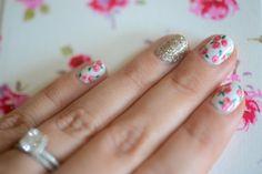 Tiny rose nail art