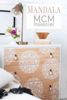 Mandala Stencils are so beautiful in design and meaning! Here's an MCM painted dresser makeover using mandala stencils...