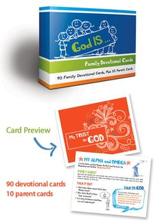 God Is...Family Devotional Cards are centered around Scripture and provide families with a unique devotional activity (Family Quest), discussion point (Talk It Out) and prayer topic (Talk to God).
