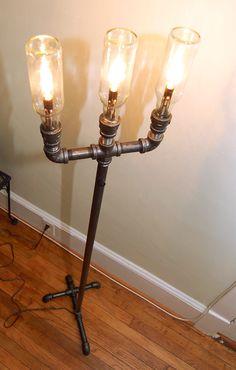 Industrial Floor Lamp, steampunk pipe lamp, recycled plumbing pipe industrial lighting