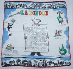 Vintage Handkerchief-La Fondue-Melted Cheese in a Communal Pot-Yummy on Etsy, $30.00