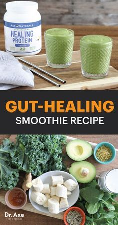 Gut-Healing Smoothie Leaky gut is tied to a range of health conditions, from food sensitivities and irritable bowel syndrome to autoimmune diseases and inflammatory skin conditions like acne. Let your gut rest with this healing smoothie. Healthy Smoothies, Healthy Drinks, Smoothie Recipes, Healthy Snacks, Healthy Eating, Drink Recipes, Smoothie King, Smoothie Bowl, Leaky Gut Diet