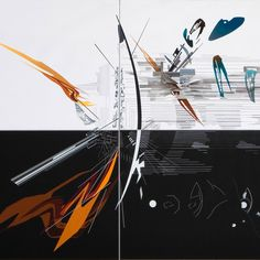 Four of Zaha Hadid's abstract paintings are shown in virtual reality at an exhibition of her early work at the Serpentine Sackler Gallery