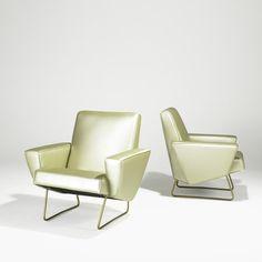 Pair French geometrical club chair Pierre Guariche 2