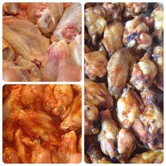 Fűszeres csirkeszárnyak márványsajtos mártogatóval... Shrimp, Chicken, Meat, Food, Essen, Meals, Yemek, Eten, Cubs
