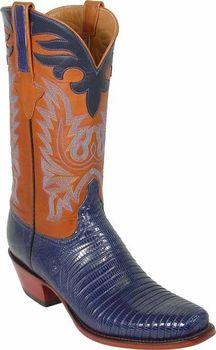 415c1690cf9ac Mens Lucchese Classics Navy Blue Lizard Custom Hand-Made Cowboy Boots L1290  Blue Lizard