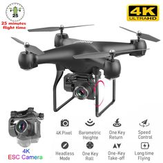 RC Drone Quadcopter UAV with Camera 4K Professional Wide-Angle Aerial Photography Long Life Remote Control Fly Wing Machine Toy Drone Remote, Drone Quadcopter, Drones, Ultra 4k, Rc Helicopter, Remote Control Toys, 4k Hd, Video Camera, Aerial Photography