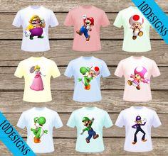 10 Super Mario Bros. T-Shirt Transfers! Digital Download! Iron On Printable T-shirts!