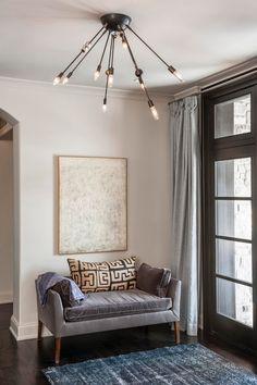 kuba pillow on velvet sofa a perfect gray: michelle james lighting