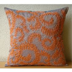 Orange Whirlwind - 26x26 inches Square Decorative Throw Orange Silk Euro Sham Covers Embellished with Beads & Sequins The HomeCentric http://www.amazon.com/dp/B0088IT2N2/ref=cm_sw_r_pi_dp_STEhub13X3D8F