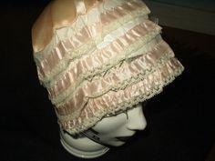 Peach Silk Lace Ribbon Lingerie Bed Bonnet Vintage 1920s Flapper Boudoir - The Gatherings Antique Vintage