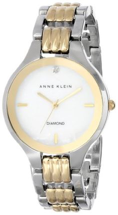 Women's Wrist Watches - Anne Klein Womens AK1489MPTT Diamond Dial TwoTone Bracelet Watch -- Read more at the image link.