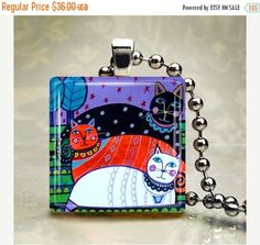 60% Off Today- Cat Necklace Animal Folk Art Jewelry - Pendant Glass Gift Art Heather Galler Gift- Cat Lovers Abstract Modern Colorful