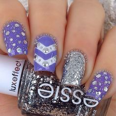 Purple & silver nail art design