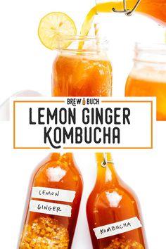 This antioxidant-packed Lemon Ginger Kombucha recipe is a classic. Informations About This antioxidant-packed Lemon Ginger Kombucha recipe is a classic c Best Kombucha, Kombucha How To Make, Kombucha Tea, Vegetarian Recipes, Healthy Recipes, Drink Recipes, Kombucha Fermentation, Honey